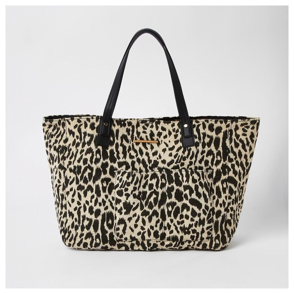 Womens White leopard print beach tote bag