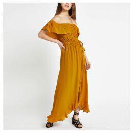 Womens Petite Yellow bardot maxi dress
