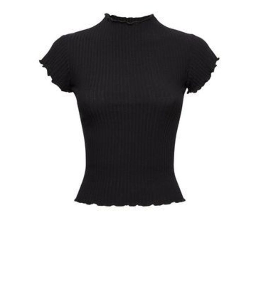 Petite Black Ribbed Frill Trim T-Shirt New Look
