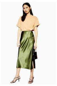 Womens Split Satin Bias Midi Skirt - Olive, Olive