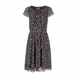 Black Ditsy Daisy Tea Dress
