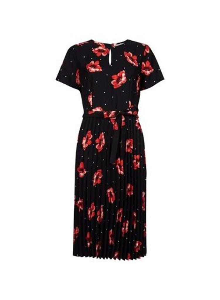 Womens Petite Pleated Midi Dress- Black, Black