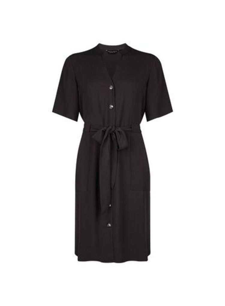 Womens Black Notch Neck Dress- Black, Black