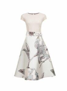 Womens **Luxe Silver Jacquard Midi Prom Dress- Silver, Silver