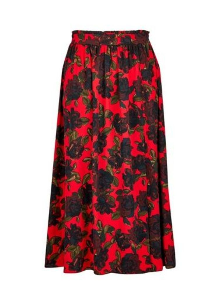 Womens Red Rose Wrap Midi Skirt- Red, Red