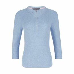 Cloud Blue Ribbed Henley Top