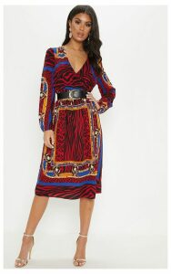 Black Chain Print Wrap Front Shirred Midi Dress, Black