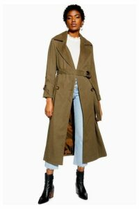 Womens Belted Trench Coat - Khaki, Khaki
