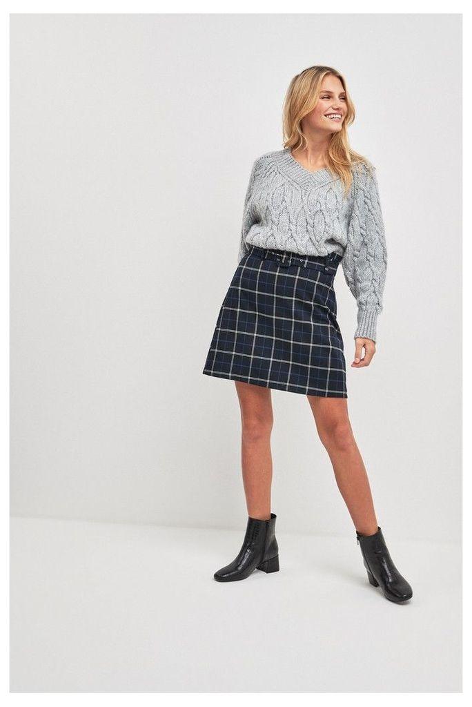 Womens F&F Multi Check Mini Skirt -  Natural