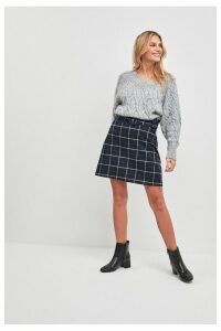 Womens F&F Multi Check Mini Skirt -  Natural