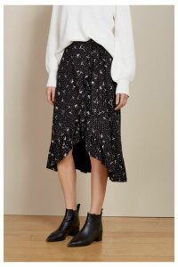 Womens Baukjen Black And White Floral Angeline Wrap Skirt -  Black