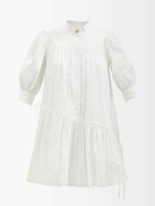 Versace - Python Effect Leather Coat - Womens - Blue Multi