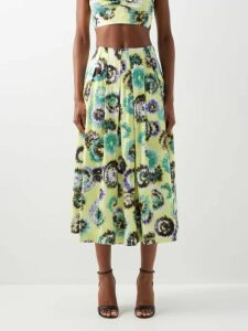 Molly Goddard - Lettie Gingham Tulle Wrap Midi Skirt - Womens - Green