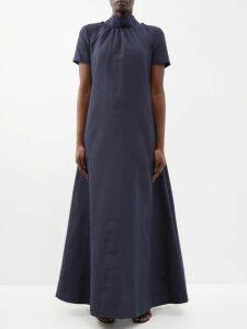 Mame Kurogouchi - Floral-print Silk-blend Fil Coupé Coat - Womens - Navy Multi