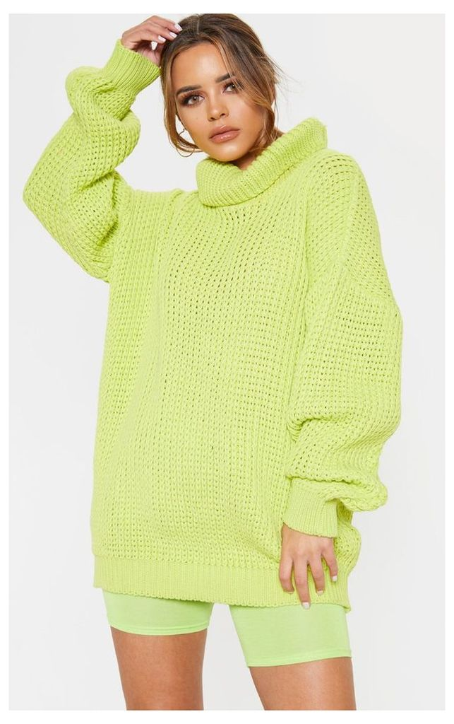 Petite Neon Lime Green Roll Neck Oversized Chunky Knit Jumper, Green