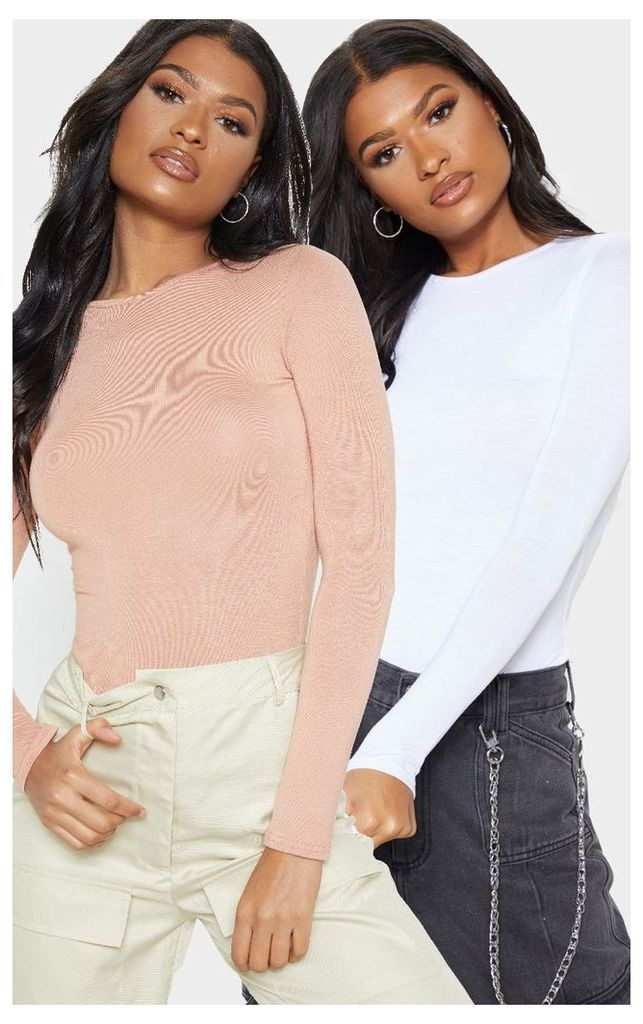 Basic Peach & White 2 Pack Long Sleeve Fitted T Shirt, Multi