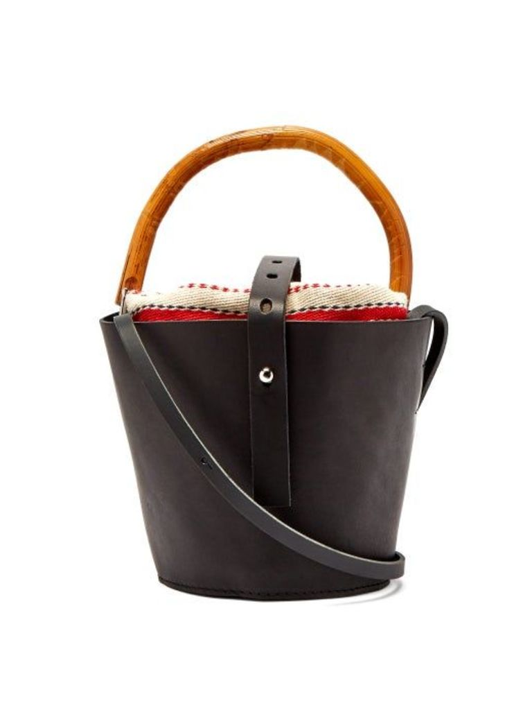 Muuñ - Louise Leather And Rattan Bucket Bag - Womens - Red Multi