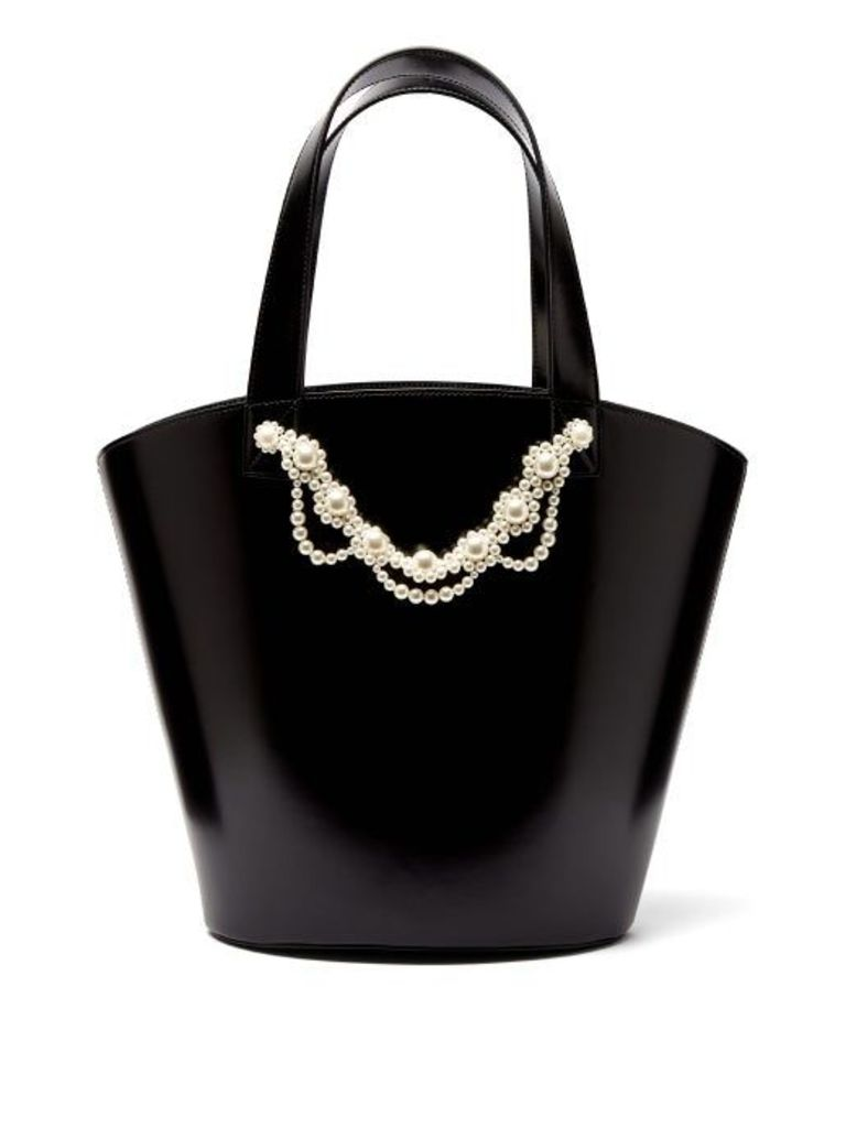 Simone Rocha - Faux Pearl Trimmed Leather Bucket Bag - Womens - Black Multi