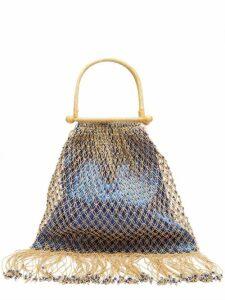 My Beachy Side - Aphrodite Rattan Handle Beaded Crochet Bag - Womens - Blue Multi