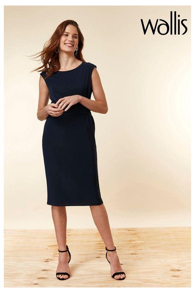 Womens Wallis Blue Ruched Side Midi Dress -  Blue
