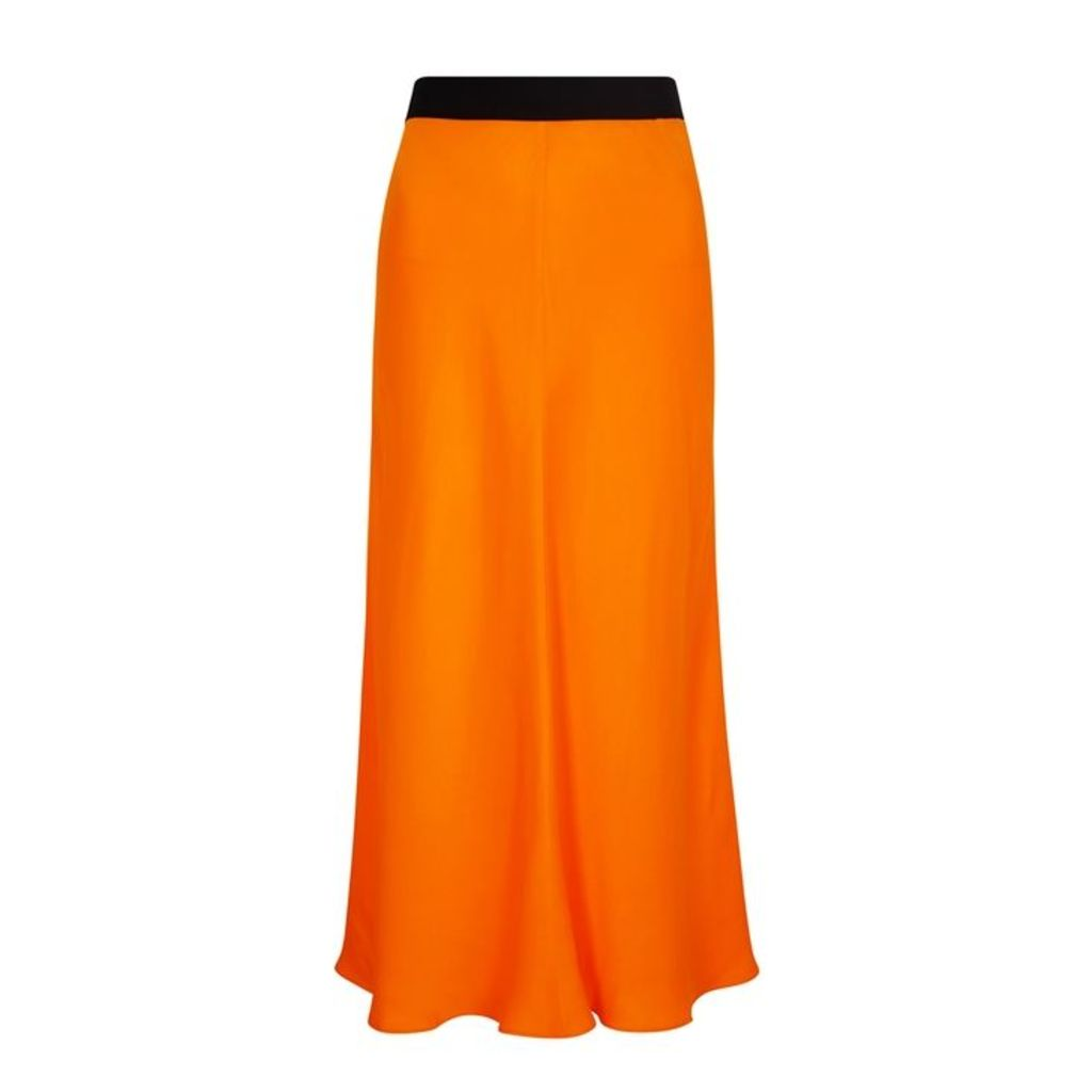 BY MALENE BIRGER Orange Satin Midi Skirt