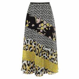 Diane Von Furstenberg Darcie Contrast-print Silk Midi Skirt