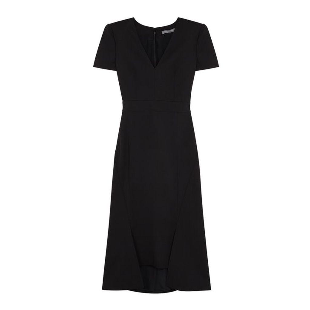 Alexander McQueen Black Twill Midi Dress