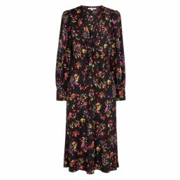 Veronica Beard Amber Floral-print Stretch-silk Dress