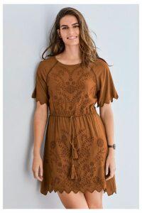 Womens Next Tan Broderie Dress -  Brown