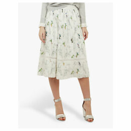 Ted Baker Linnett Pleated Bird Print Skirt, White