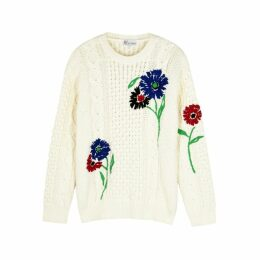 RED Valentino Cream Embroidered Cable-knit Jumper