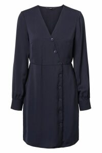 Womens Vero Moda Petite Long Sleeve Wrap Dress -  Blue