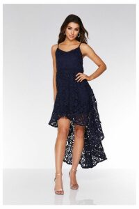 Womens Quiz Crochet Dip Hem Skater Dress -  Blue