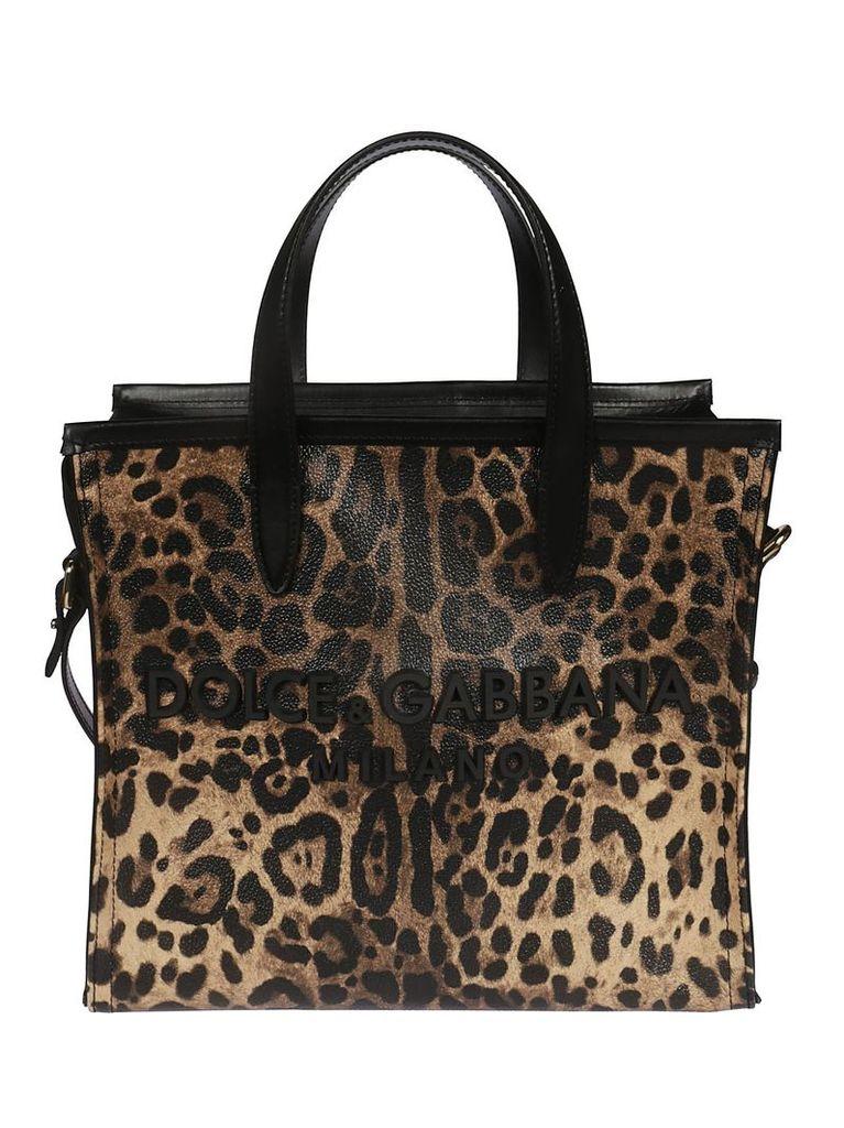 Dolce & Gabbana Medium Market Leopard Print Tote