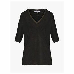 Gerard Darel Vera Linen T-Shirt, Black