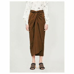 Tacito high-waist gathered cotton midi skirt