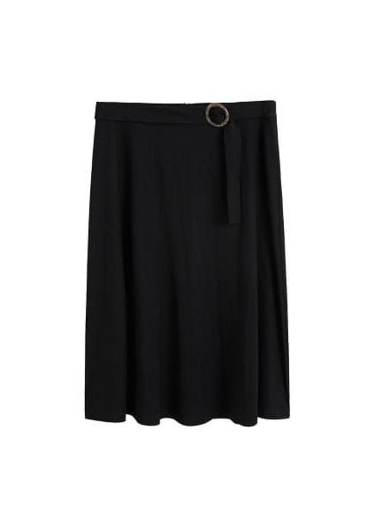 Belt midi skirt