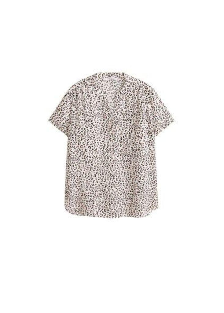 Pocket printed blouse