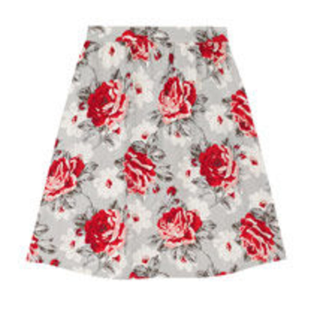 New Rose Bloom Cotton Sateen Skirt