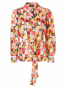 Elisabetta Franchi logo print blouse - Red