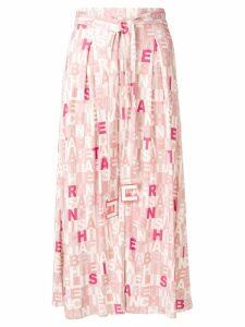 Elisabetta Franchi belted lettering print midi skirt - Pink