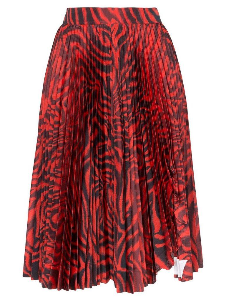 Calvin Klein 205W39nyc zebra print pleated silk-blend skirt - Red