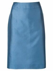 Emporio Armani metallic pencil skirt - Blue