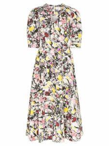 Erdem Cassida floral print puff sleeve cotton midi dress - White/Pink