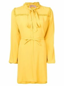 Nº21 long-sleeve flared shirt dress - Yellow