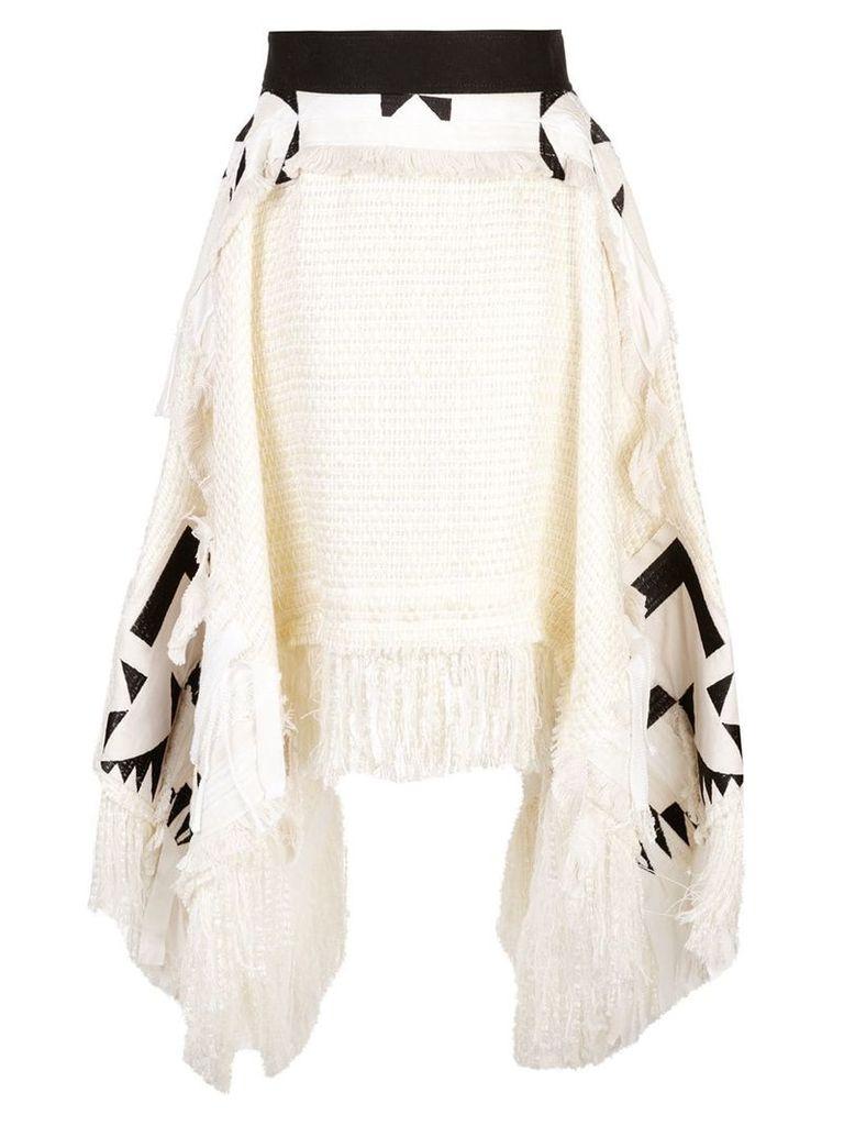 Sacai asymmetric tweed skirt - White
