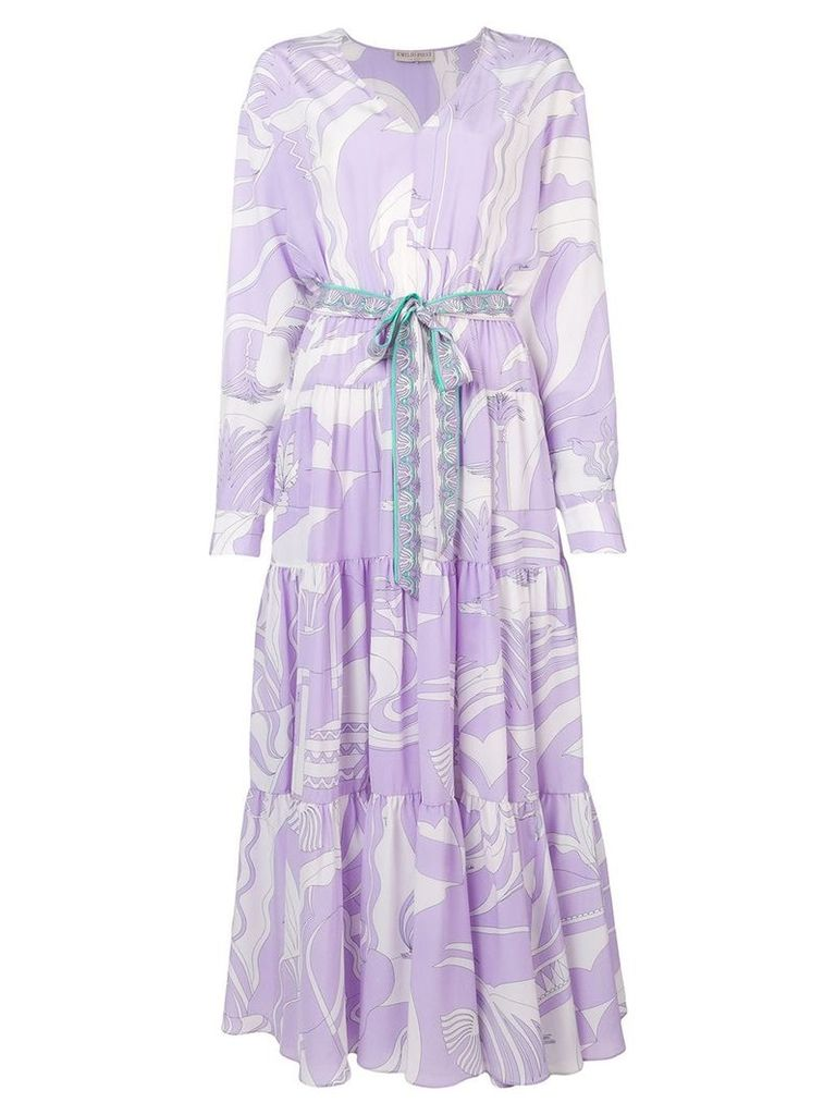 Emilio Pucci La Villa Print Tiered Long Dress - White