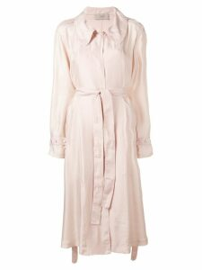 Maison Flaneur belted mid-length coat - Pink