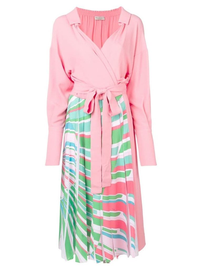 Emilio Pucci Shell Print Wrap Front Silk Mid-Length Dress - Pink