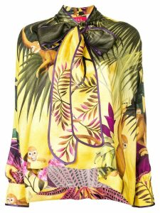 F.R.S For Restless Sleepers tropical print drape blouse - Yellow